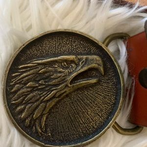 Solid Brass Eagle Head buckle and leather belt